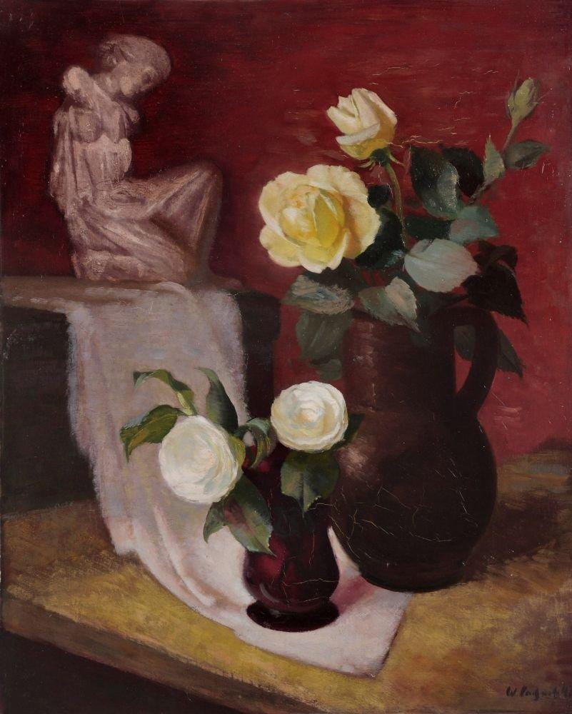 89: Wilhelm Lachnit, Stilleben mit Skulptur und Teerose