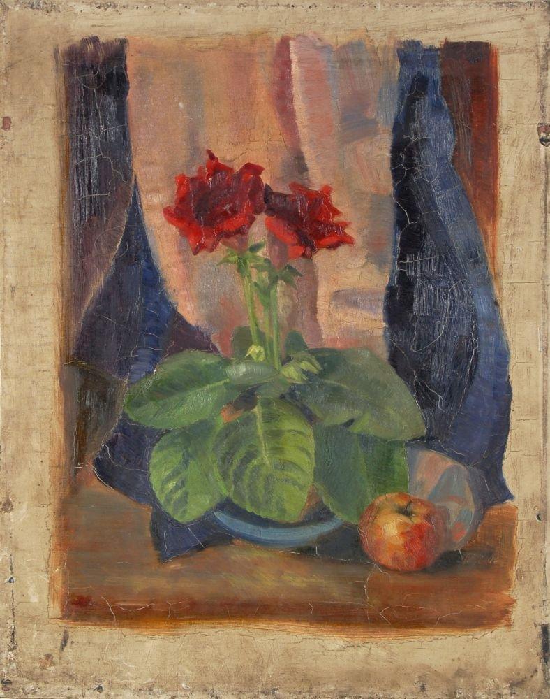 90: Irma Lang-Scheer, Blumenstilleben mit Apfel. 1946.
