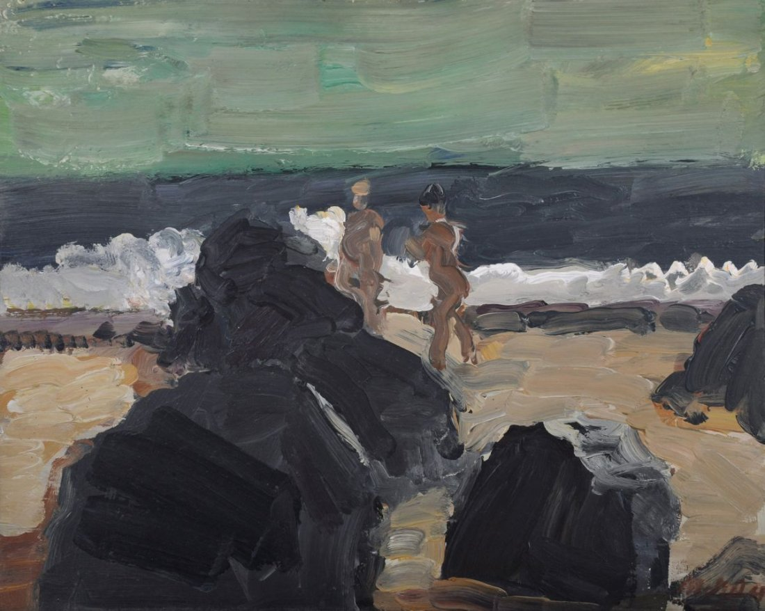 103: Harald Metzkes, Badende am Strand. 1980.