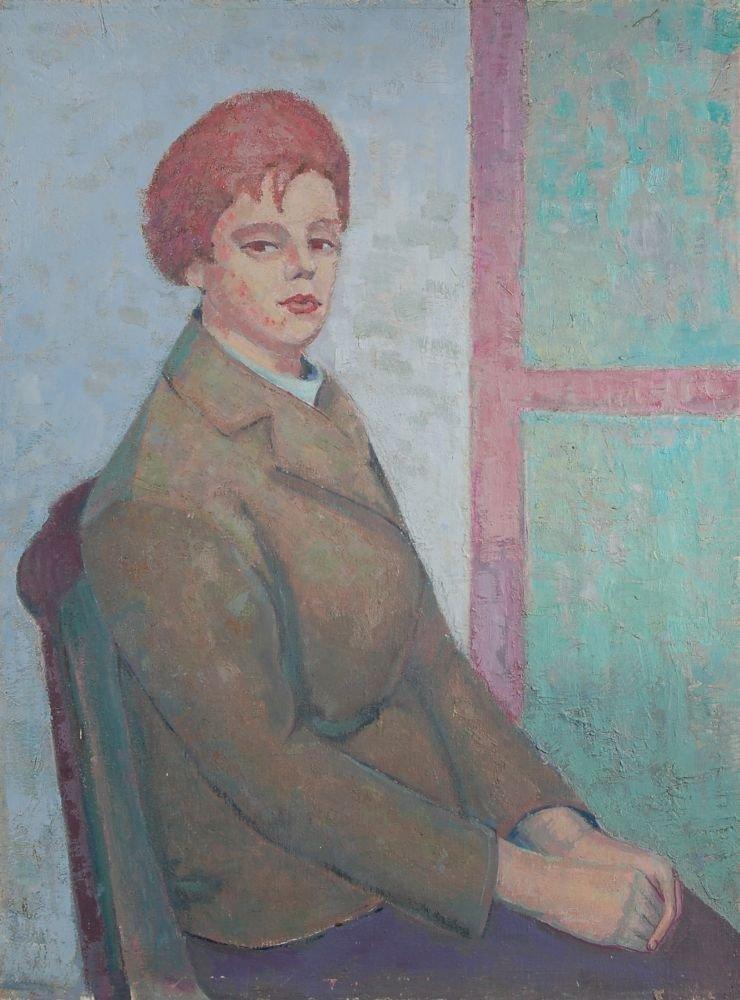 104: Max Möbius, Sitzende Dame im grünen Jackett. 1960.