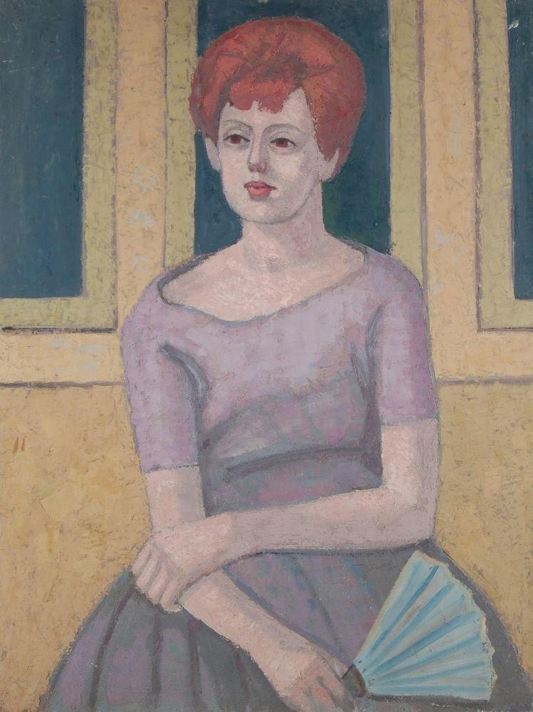 105: Max Möbius, Sitzende Dame mit blauem Fächer. 1962.