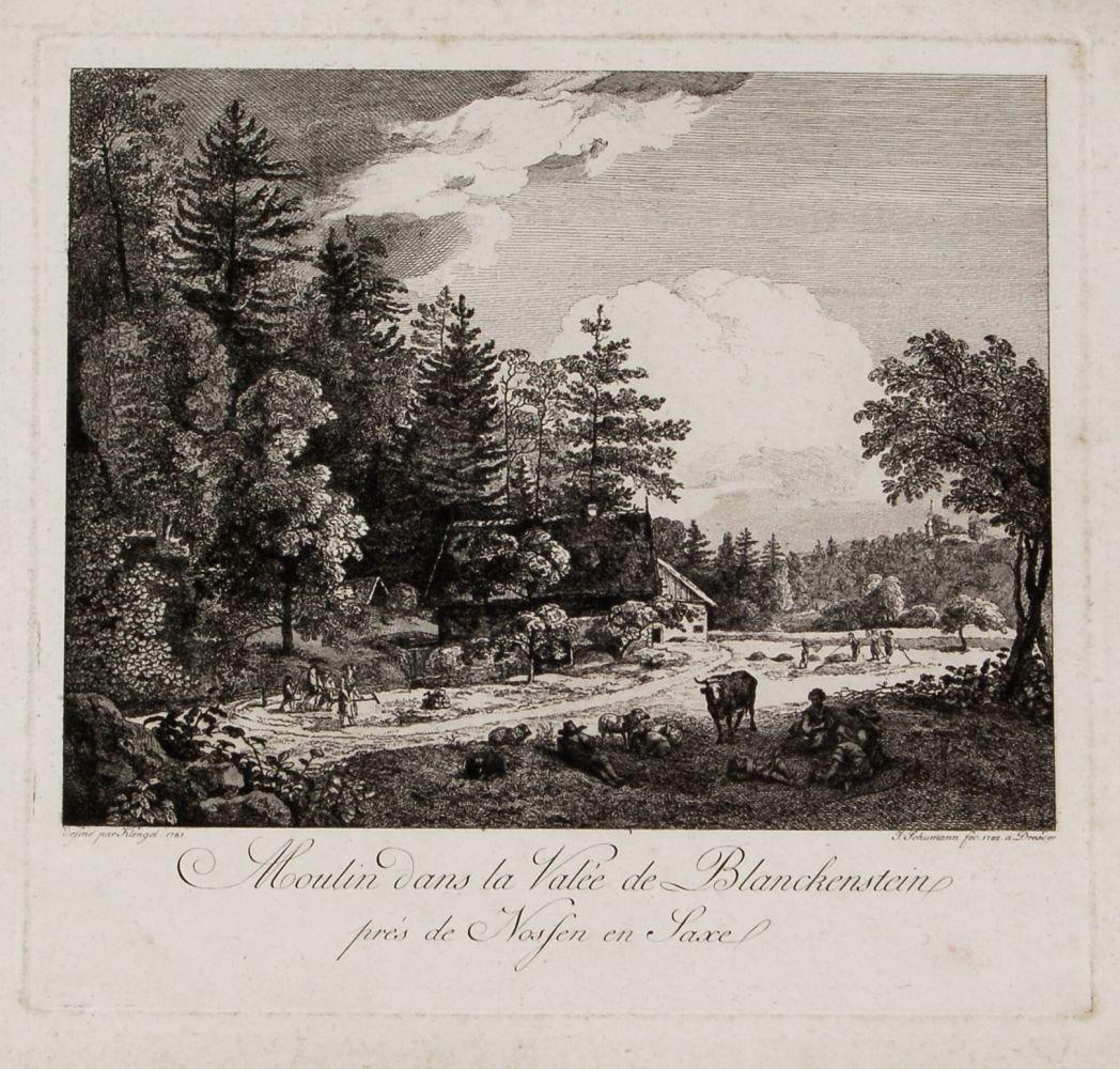 """183: Johann Gottlob Schumann """"Moulin dans la Valée de B"""