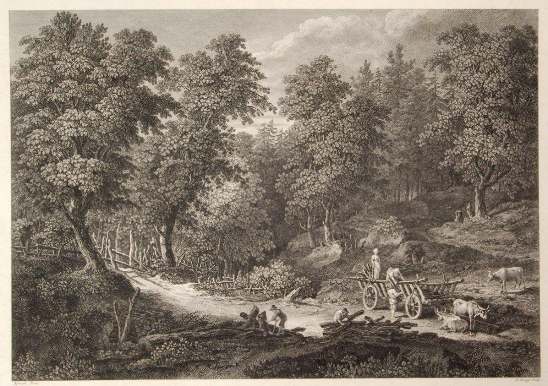 188: Adrian Zingg, Waldlandschaft mit Bauern bei der Ho