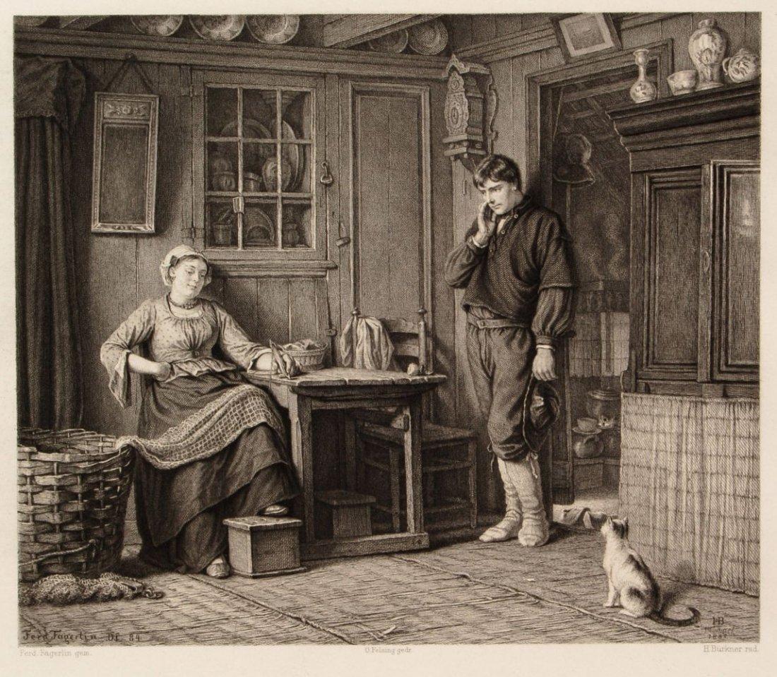 """192: Hugo Bürkner, Lesestunde/ """"Betende Pilgerin""""/ """"Wer"""
