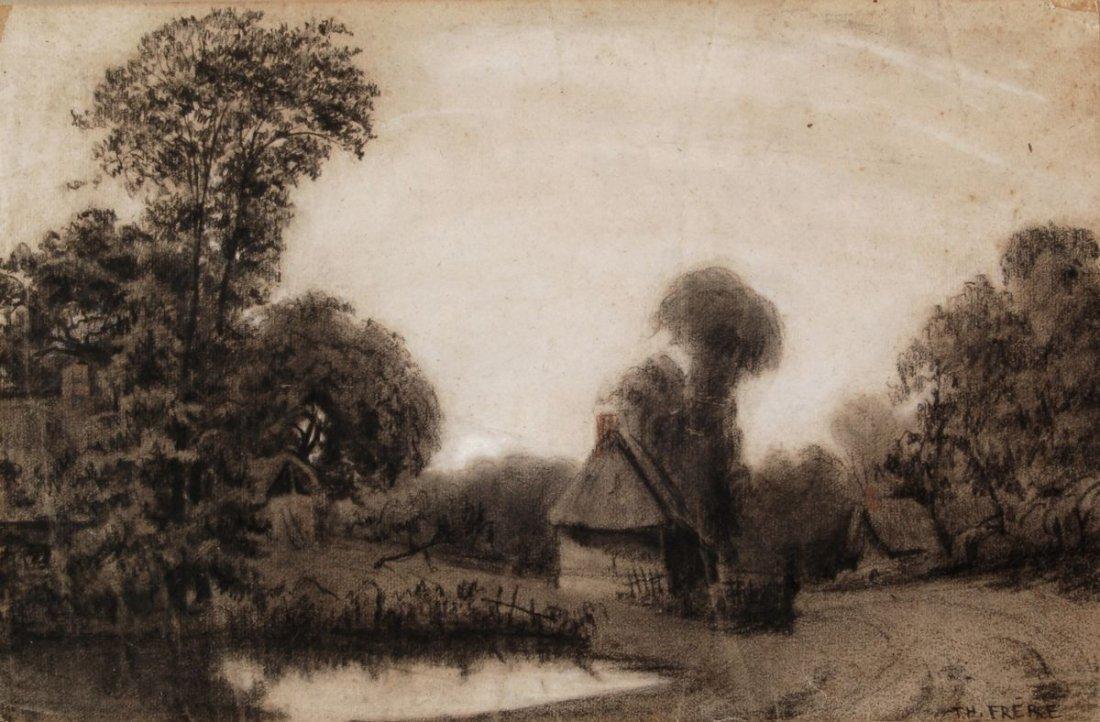 193: Théodore Frère, Landschaft mit kleinen Bauernhäuse