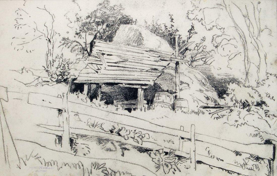 196: Albert Hertel, Landschaft mit einem Verschlag. Um