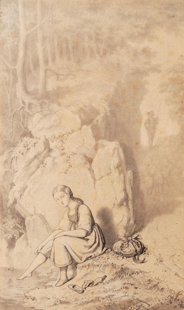 199: Franz Maria Ingenmey, Rastendes Mädchen am Waldque