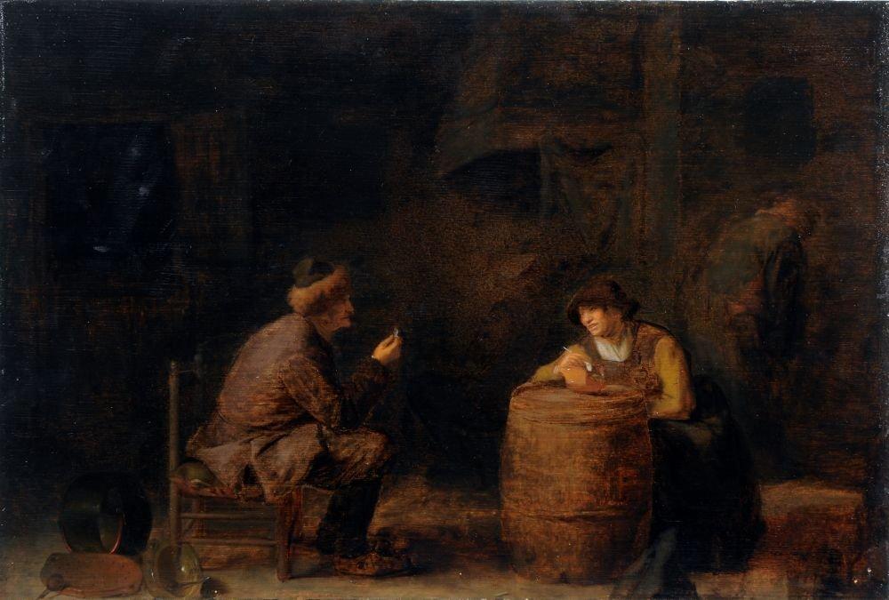 """1: Pieter Hermensz Verelst """"Ein Mann bietet einer rauch"""