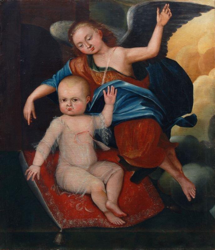 6: Unbekannter Künstler, Kind, von einem Engel begleite
