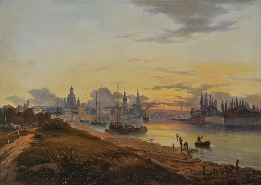 9: Johann Anton Castell, Blick auf Dresden bei Sonnenun