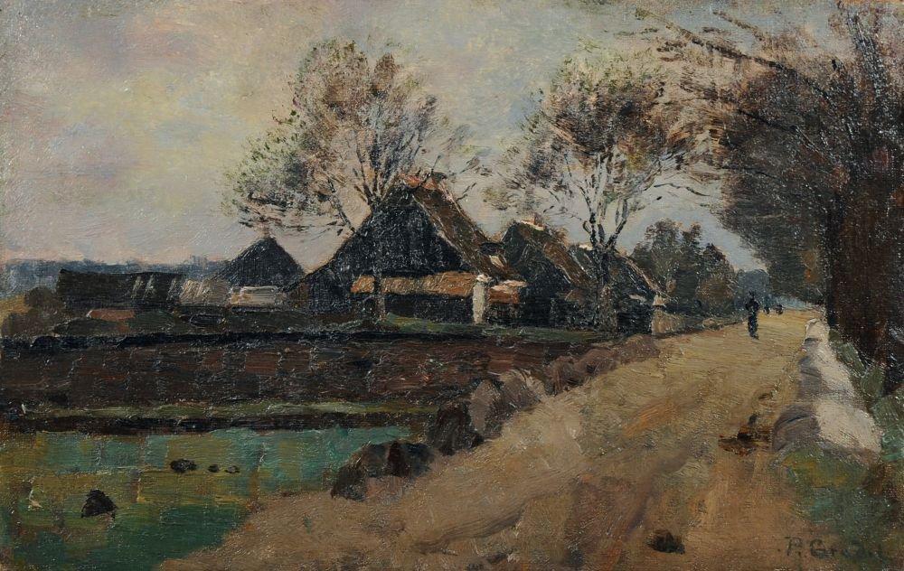 10: Paul Eduard Crodel, Norddeutsche Landschaft mit Bau