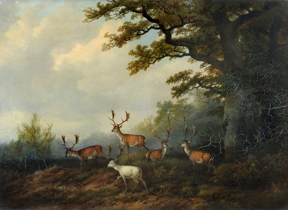 15: Georg Höhn, Damwild am Waldrand. Um 1850.