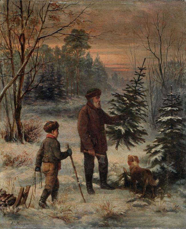 18: Franz Krüger, Beim Weihnachtsbaumholen. 1st half 19