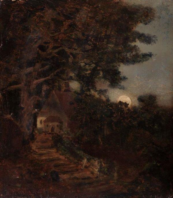 4: Heinrich Hartung, Nächtliche Landschaft. 1887.