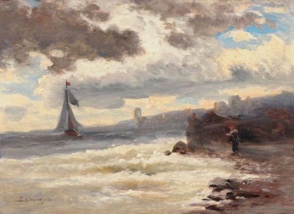 26: Ludwig Correggio, Stürmische Küstenlandschaft. No d