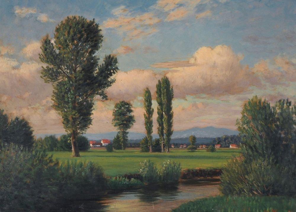 Wilhelm Harsing, Oberbayerische Landschaft. Late 19th c
