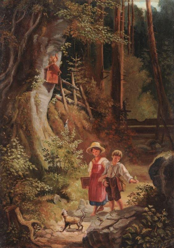 Monogrammist J.L.L., Zwei Kinder mit Hund beim Spazierg