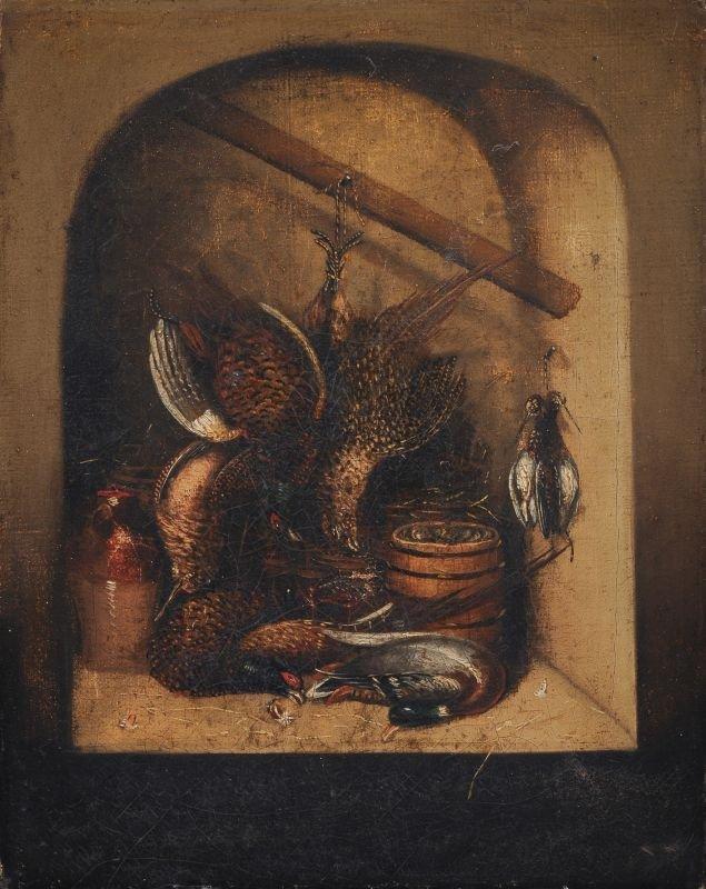 Unbekannter Künstler, Küchenstück mit Rebhühnern, Fasan