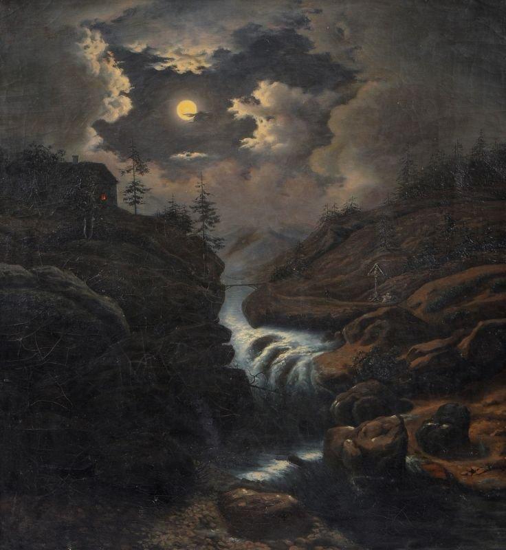 Unbekannter Künstler, Bergige Mondscheinlandschaft mit