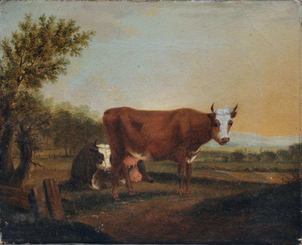 Johann Friedrich Weitsch (Umkreis), Zwei Kühe vor weite