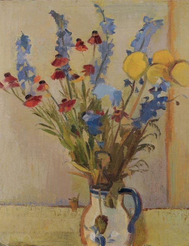 Gerd Böhme, Blumenstilleben mit Gladiolen, Sonnenhut un
