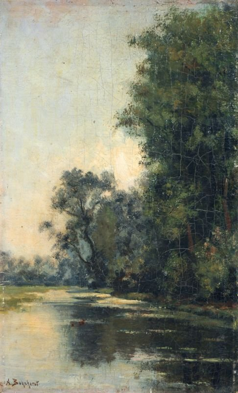 August John Paul Bohnhorst, Bäume am Flußufer. Um 1900.