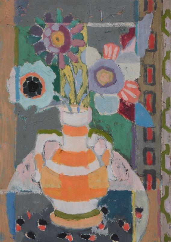"""Albert Wigand """"Vase mit Blumen, Rechteck auf rundem Tis"""