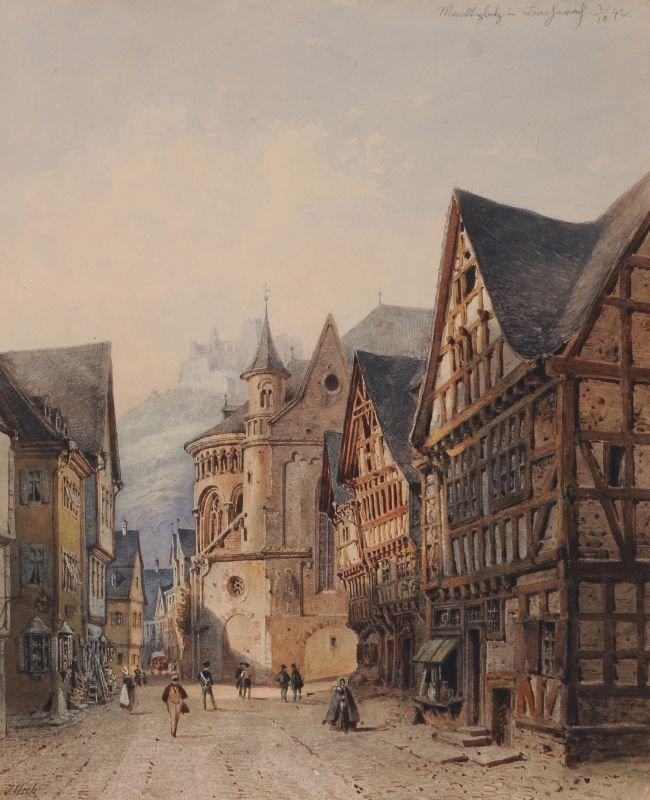 """Josef Andreas Weiß """"Marktplatz in Bacharach"""". 1842."""