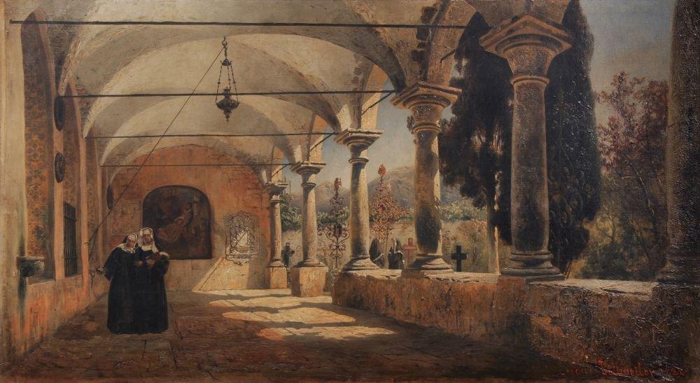 Ludwig Dittweiler, Italienischer Kreuzgang mit Nonnen.