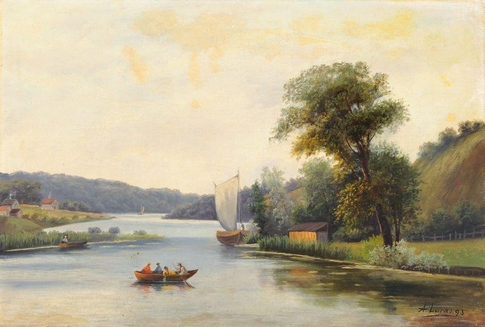 A. Lucas, Flusslandschaft mit Fischerbooten. 1893.
