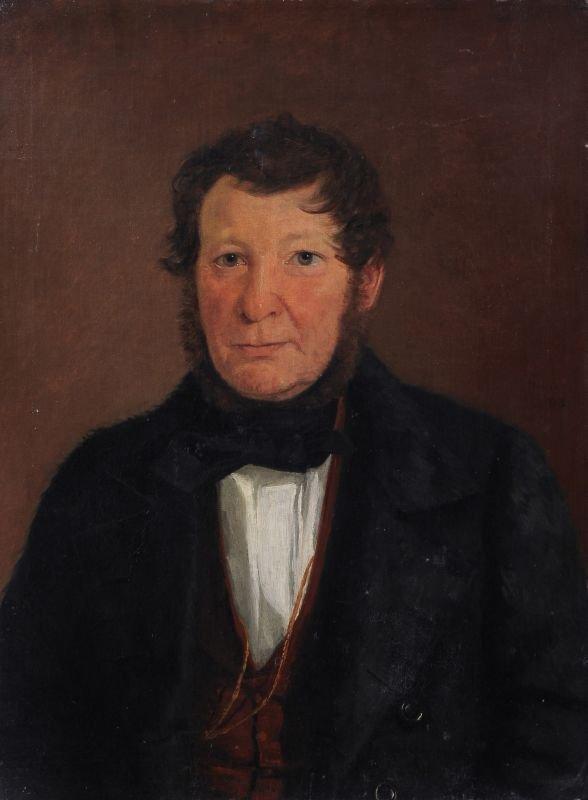 Moritz Unna, Bildnis eines Herren in Felljacke. 1843.