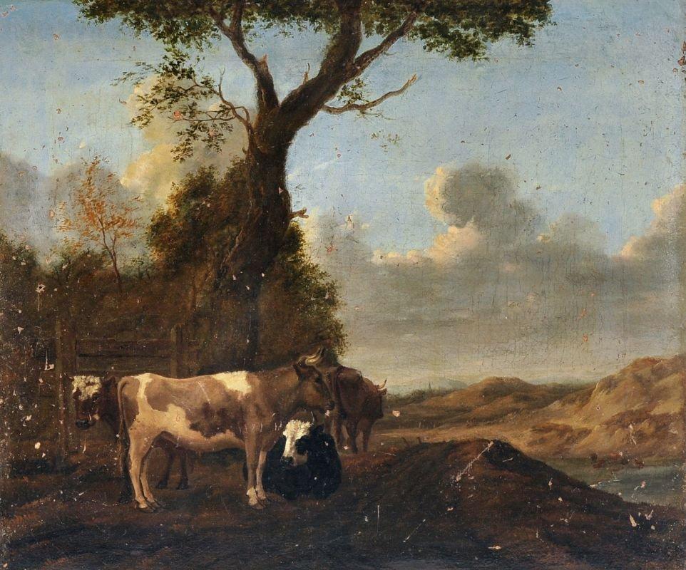 Unbekannter Kuenstler, Ruhende Kuehe. Wohl 1655.