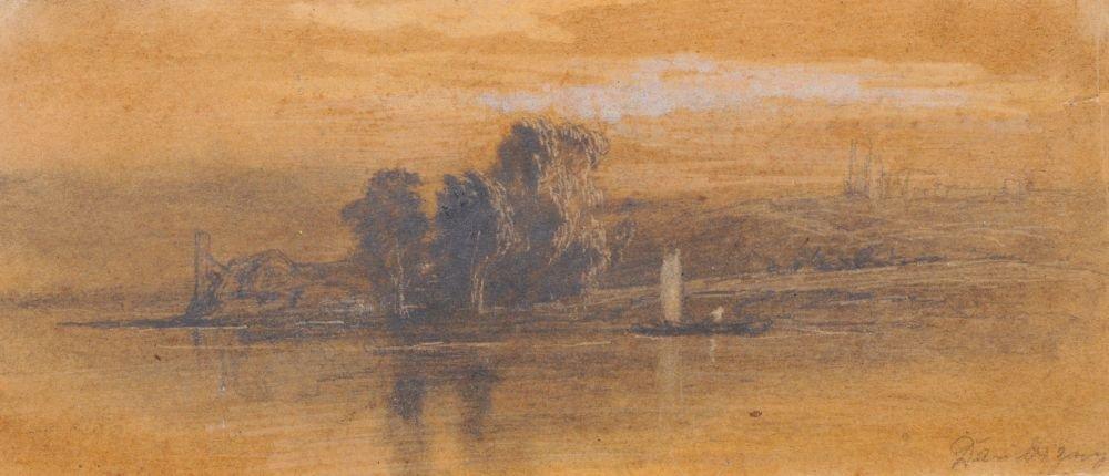 Karl (Charles-Pierre) Daubigny (zugeschr.), Uferlandsch