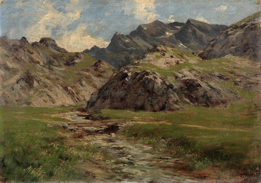 """Charles Alexandre Bertier """"Une source dans les Alpes""""."""
