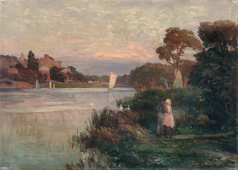 Fritz Fechner, Abendliche Flusslanschaft mit Liebespaar