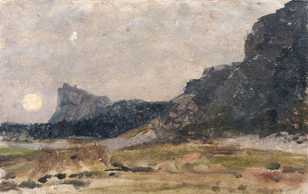 Max Merker, Steilkueste im Mondschein. 1876.