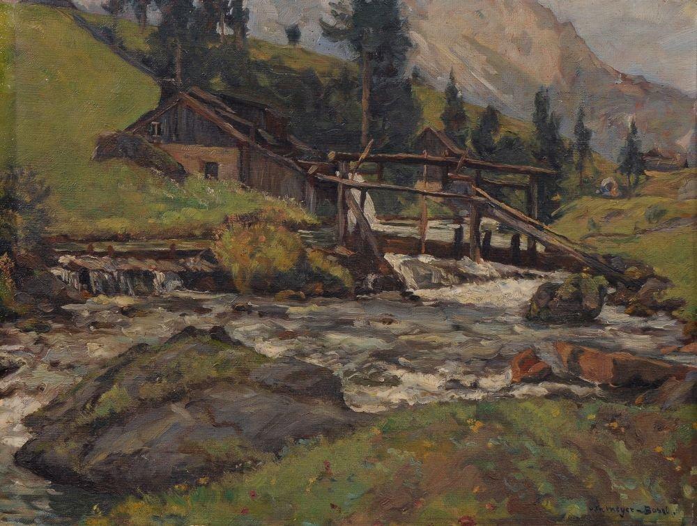 Carl Theodor Meyer-Basel, Bauernhaus am Gebirgsbach. Wo