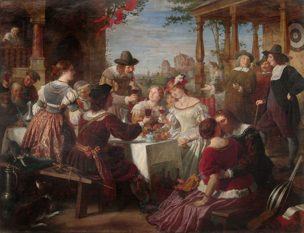 """Adolf Wichmann """"Ein Gastmahl bei Rembrandt"""". Um 1866."""