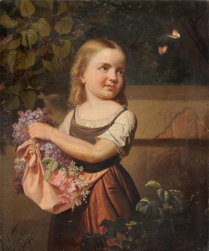 Wilhelm Ferdinand Wolf (zugeschr.), Maedchen mit Blumen
