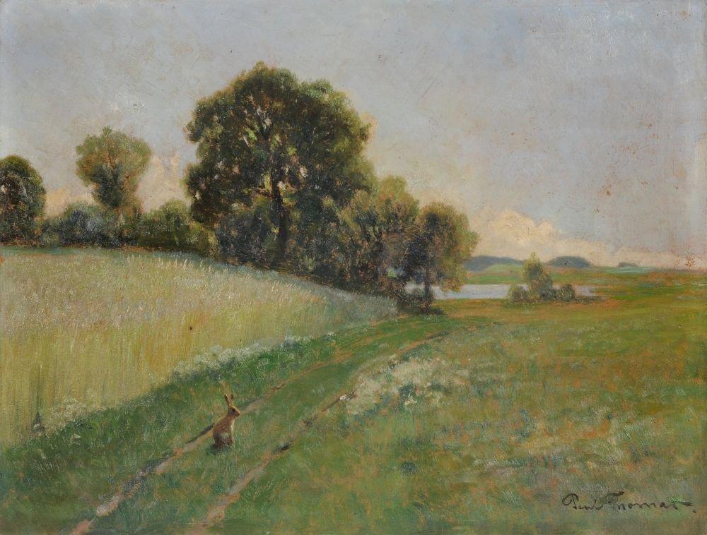 Paul Thomas, Wiesenlandschaft mit Feldhase. Ende 19th c