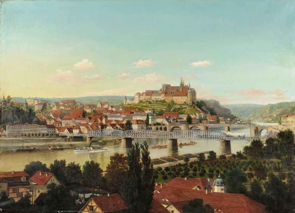 Unbekannter Kuenstler, Blick auf Meissen. Zwischen 1868