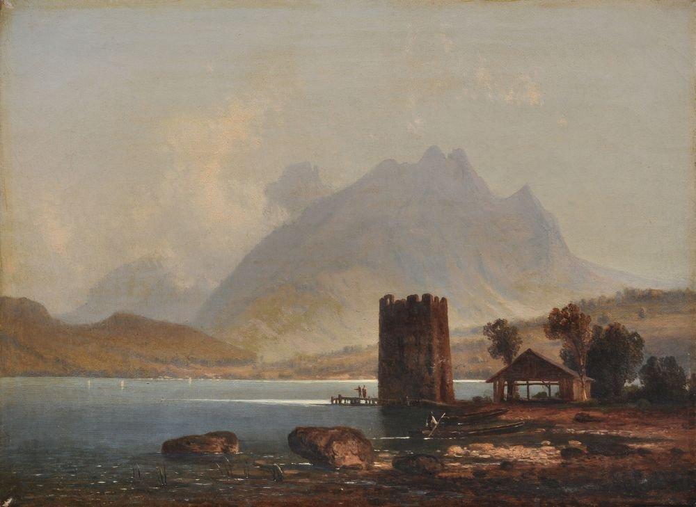 Hermann Both, Bergige Landschaft mit Kastell. 19th