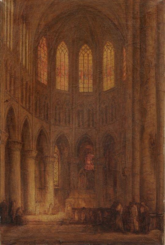 Ko Cossaar, Kircheninterieur. Wohl spaetes 19th cent.