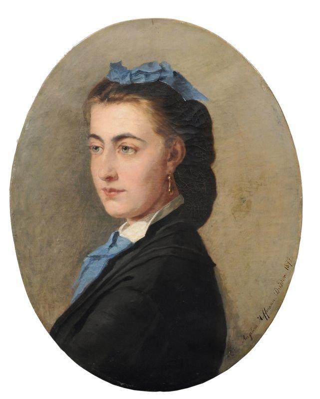 Angelica Hoffmann, Portrait einer jungen Frau. 1872.