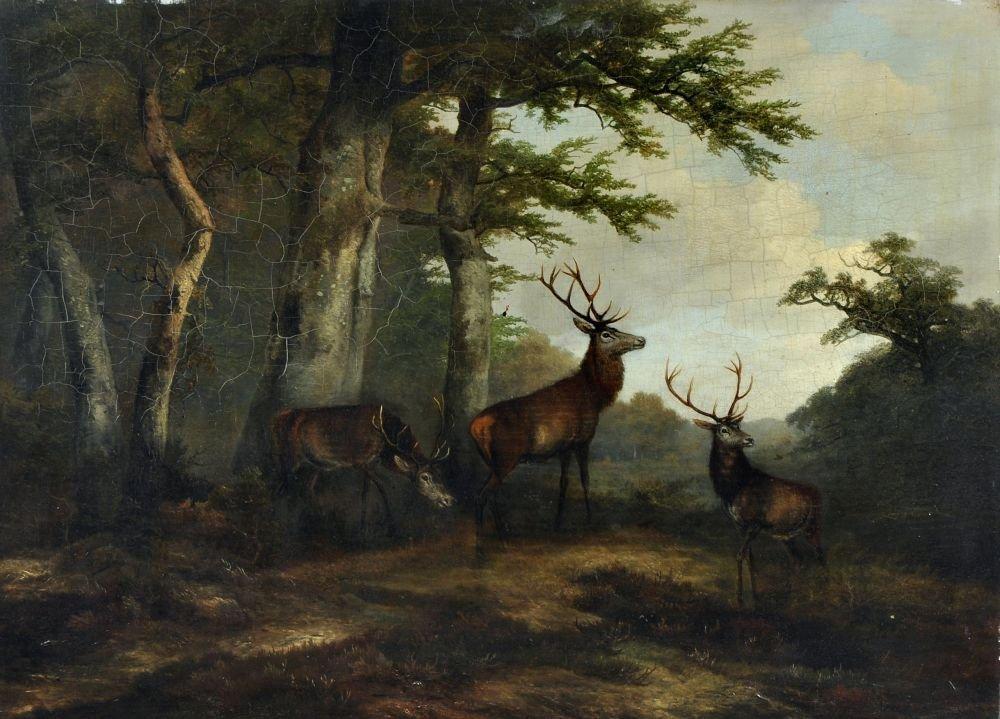 Georg Hoehn, Rotwild auf einer Waldlichtung. Um 1850.