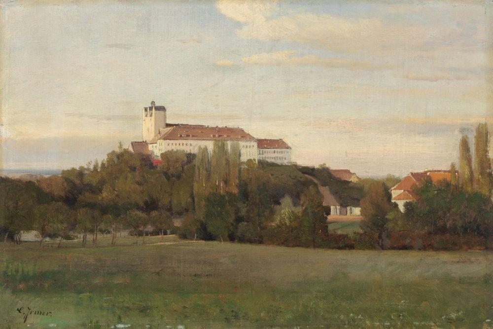 Carl Irmer, Baumbestandene Landschaft mit Kloster. Ende