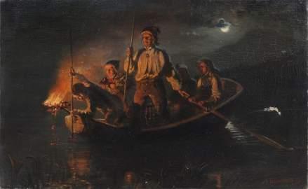 """Adolph Tidemand """"Lystringen"""" (Fishing at night). 1849."""