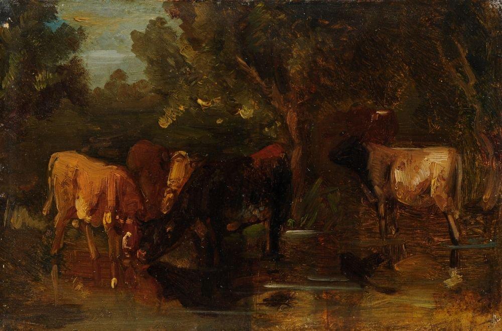 Friedrich Voltz (zugeschr.), Kuehe an der Traenke. 19th
