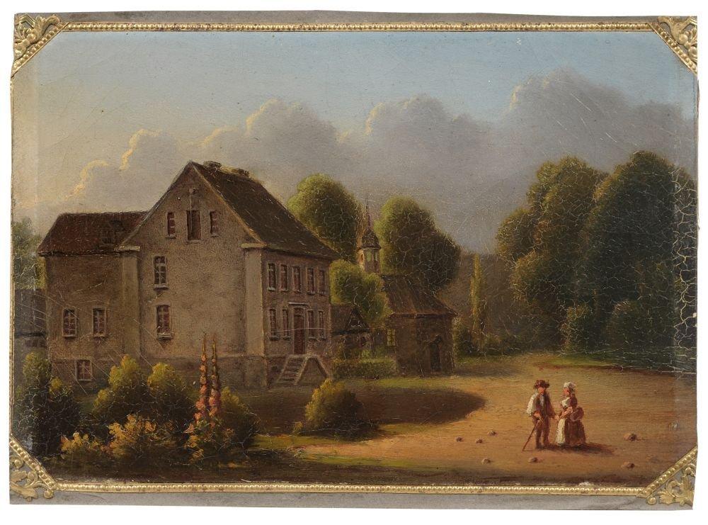 Unbekannter Kuenstler, Landschaft mit Gutshaus, Kapelle