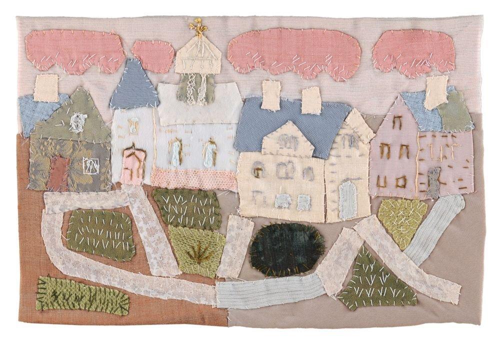 Elisabeth Ahnert, Staedtchen mit Kirche und rosa